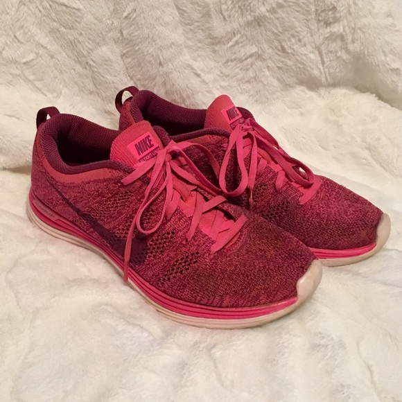 size 40 ce48c 6f6d4 Nike Flyknit Lunar 1 Pink Knit Running Sneakers. M 5a664af145b30c6e021e0364